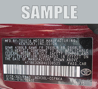 VIN Label Example