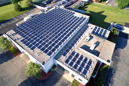 View LIVE electricity use and production from our huge 72kW solar array!